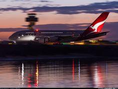 Qantas Airbus A380-842 VH-OQD (cn 026) Pre dawn magic as QF12 from LAX slows down on 34L on a perfect autumn morning.