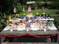 """PATRIOTIC PARTY Don't wait until July to break out the red, white, and blue! Start with Memorial Day and create a """"budget friendly patriotic party"""". Summer Backyard Parties, Backyard Party Decorations, Backyard Bbq, Decoration Table, Backyard Ideas, Summer Garden, Patriotic Party, 4th Of July Party, Fourth Of July"""
