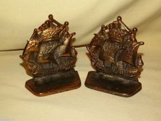 """SAILING SHIP SPANISH GALLEON SAILBOAT BOOKENDS SET OF 2 BRASS PAIR SOLID 4 1/4"""""""