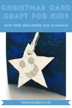 Easy Christmas card for kids to make  - super cute Christmas card wit detachable Christmas tree ornament  a lovely simple Christmas craft for young children. Daisies & Pie