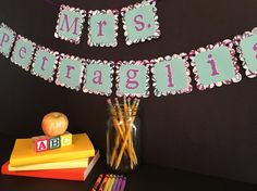 Teacher gift, Classroom decoration, Teacher's name banner. Visit my FB page at www.facebook.com/... for more party fun. See something here but not available in my shop? Message me! I love custom orders and requests! I am on FB, IG, Pinterest and Twitter!