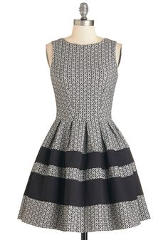 A Dreamboat Come True Dress in Floral. Brimming with excitement and clad in this elegant black and white dress, you step onto the extravagant boat waiting at the dock for you!  #modcloth