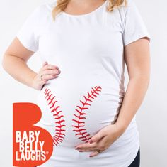 My husband smiled ear to ear when he saw it. Its long enough for my bump to grow, and snug enough to flaunt my baby bump beautifully! OMG this shirt is even more adorable in person!! good quality, super soft and comfy  This adorable maternity top is perfect for the expecting baseball fan! It is hand screen printed on a white maternity tank or tee. It is light weight and comfortable with enough length to cover your baby bump. Side ruching allows the shirt to grow with you throughout your…