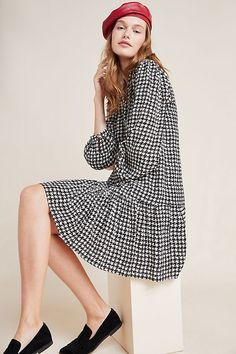 Petite Maeve Sterling Houndstooth Tunic in Black Size: Xs P, Women's Tops at Anthropologie Irish Warrior, Warrior Queen, Anthropologie Uk, Houndstooth Dress, Autumn Fashion, Tunic, Clothes For Women, My Style, How To Wear