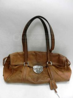 234fdbfc57b3 shopgoodwill.com -  20474030 - PRADA Cognac Leather Double Strap Satchel  Handbag - 3 18 2015 6 15 00 PM