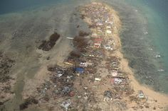 This aerial shot shows destroyed houses on Victory Island near the town of Guiuan in Eastern Samar province, central Philippines Shot Show, Samar, Aerial View, Destruction, Philippines, City Photo, Horror, Around The Worlds, Island