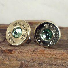 Bullet  Earrings   Ultra Thin   Peridot  August by ShellsNStuff, $14.99