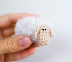White sheep unique crochet brooch by tutseetoy on Etsy