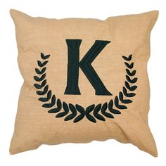 Monogrammed Tan Linen Throw Pillow www.miss-kara.com
