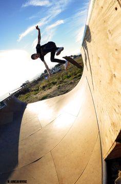 Jared Hébert kick flip  in the wall r extension El Granada CA
