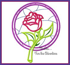 Princess Belle's Stained Glass Rose from Beauty and the Beast Applique Digital Embroidery Machine  Design File 4x4  5x7 6x10 by Thanks4TheAdventure on Etsy