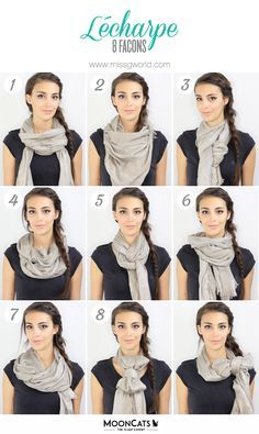 Tuto Comment porter une écharpe ou un foulard? How to wear a scarf? Ways To Tie Scarves, Ways To Wear A Scarf, How To Wear Scarves, Scarf Knots, Diy Scarf, Tie A Scarf, Scarf Top, How To Wear Flannels, Pashmina Scarf