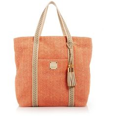 Henri Bendel Straw Xl Beach Tote (9.625 RUB) ❤ liked on Polyvore featuring bags, handbags, tote bags, purses, beach bag, coral, handbags totes, woven beach tote, striped tote bags and straw tote beach bag