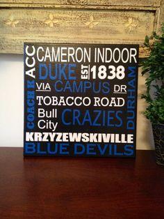 12x12 Duke Blue Devils Subway Art Canvas