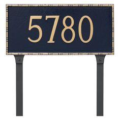 Montague Metal Lincoln Rectangle Address Sign Lawn Plaque - PCS-0077S1-L-BS