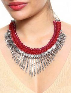 Red - Magenta Braided Choker @ jaypore.com Rang Bazaar, Paarisa.com
