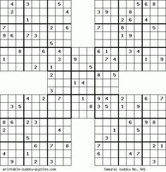 Printable samurai sudoku