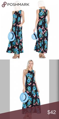 POCKET MAXI DRESSES WITH SIDE SLIT Gorgeous pop of color in this soft maxi floral print dress with pockets and side slit Dresses Maxi