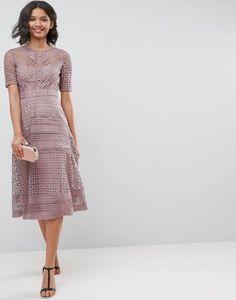 ASOS PREMIUM Occasion Lace Midi Dress