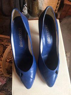 Vintage Royal Blue Court Shoes Pumps Slip Ons | Etsy