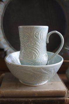 Grace DePledge Pottery  hand-carved mug and breakfast bowl
