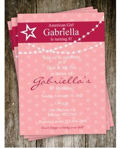 American Girl Doll Birthday Party Invitation Digital Printable. $15.00, via Etsy.