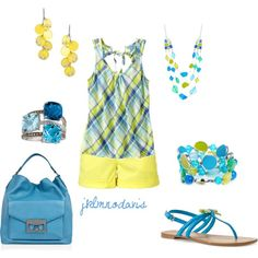 """Summer blue & yellow"" by jklmnodavis on Polyvore"