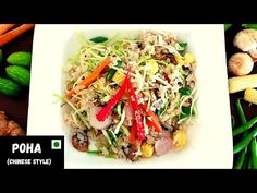 Vegetable Poha - Chinese Style | Healthy Breakfast Recipe - YouTube Healthy Breakfast Recipes, Healthy Recipes, Chinese Style, Japchae, Stuffed Mushrooms, Cooking Recipes, Vegetables, Ethnic Recipes, Youtube