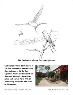 October Worksheets and Coloring Pages: The Swallows of Mission San Juan Capistrano Coloring Page