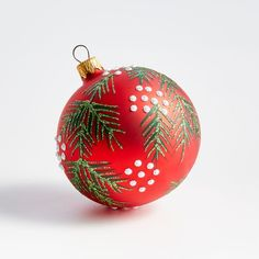 This gorgeous red ball ornament features delicately drawn and glittered pine boughs dotted with white berries. Each handcrafted ornament is made at the Ukraine factory of Weihnachtsland, one of Germany's oldest and most renowned ornament-making firms.     Handcrafted  Glass, glitter, glue and paint  Metal cap  Made in Ukraine Red Ornaments, Christmas Ornaments To Make, Green Christmas, Christmas Bells, Diy Christmas Gifts, Christmas Trees, Homemade Ornaments, Woodland Christmas, Christmas Centerpieces