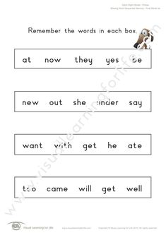"""In the """"Missing Word Sequential Memory"""" worksheets, the student must remember all the words on the first page so that they can identify the word that is missing on the second page from memory. Learning For Life, Visual Learning, Three Words, First Page, Sight Words, Comprehension, Worksheets, Student, Memories"""