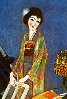Japan antique art. illustrator / Kouji Fukiya. kimono beauty lady. Taisyo era. 1923.