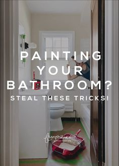 Unsure what sheen to paint your bathroom walls or how to get behind the toilet? I've teamed with Handy Products to share everything you need to know when painting your bathroom! Small Bathroom Paint, Bathroom Wall, Warm Paint Colors, Modern Farmhouse Bathroom, Shower Tub, Toilet, Interior Paint, Walls, Text Overlay
