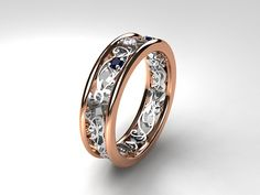 Blue sapphire filigree ring, diamond ring, two tone, rose gold, white gold, filigree engagement, blue wedding band, custom, diamond wedding