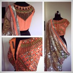 Beautiful Peach Mirror Work #Blouse & Printed #Saree.