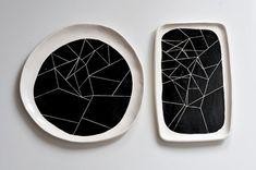 BW white ceramic platter with black geometry by ignataceramics