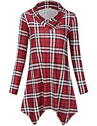 New SUNGLORY Women's Cowl Neck Tunic Top Asymmetrical Hemline Plaid Flowy Shirt(FBA) online. Find the perfect FISACE Tops-Tees from top store. Sku CDQF86212BSCD60000