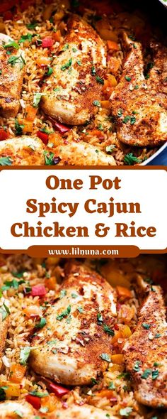 Lilnuna: One Pot Spicy Cajun Chicken & Rice – Chicken Recipes 2020 Cajun Chicken And Rice, Cajun Rice, Spicy Rice, Spicy Chicken Recipes, Cajun Recipes, Cooking Recipes, Healthy Recipes, Chicken Breast Rice Recipe, Cajun Food