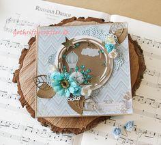 GothriftyCrafter baby boy scrapbook card blue shaker card, sequins, roses, stars.