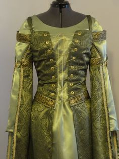 Medieval Fantasy over- and under-gown, complete outfit, sage and olive green with brown and gold trim, ready to ship Renaissance Clothing, Historical Clothing, Renaissance Costume, Italian Renaissance, Renaissance Fair, Medieval Gown, Medieval Fantasy, Fantasy Magic, Fantasy City