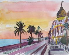 Image result for nice france watercolor