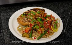 Grilled Garlic Ginger Chicken & Stir Fried Veggies Over Noodles