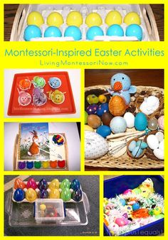Roundup with lots of fun Montessori-inspired Easter activities for toddlers through early elementary . activities for home or classroom - Living Montessori Now Easter Activities For Toddlers, Spring Activities, Easter Crafts For Kids, Preschool Crafts, Preschool Ideas, Fun Activities, Montessori Activities, Montessori Homeschool, Montessori Toddler