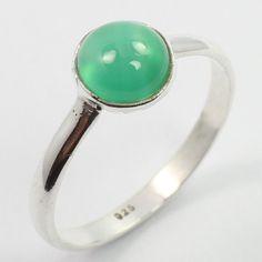 Little Cute Ring Size US 5 Real GREEN ONYX Gemstone 925 Sterling Silver Handmade #SunriseJewellers #Fashion