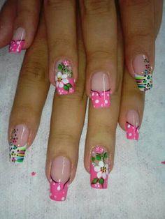 Lindas uñas! Fabulous Nails, Gorgeous Nails, Cute Nail Art, Cute Nails, Nail Time, French Tip Nails, Toe Nail Designs, Flower Nails, Creative Nails