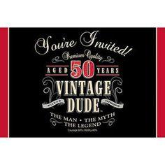Vintage Dude 50th Birthday Invitations