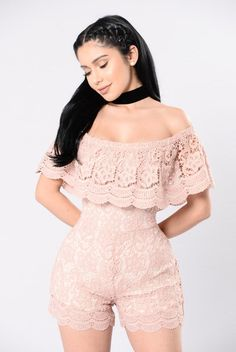 Letting My Hair Down Romper - Mauve/Nude