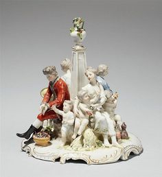 A Ludwigsburg porcelain allegorical group representing the seasons ; designed as a group of eight figures around an obelisk, circa 1770 ; the model by Johann Heinrich Schmidt - Dim: Height: cm. Antique Glass, Dresden, Obelisks, Carving, Shapes, Sculpture, Grand Tour, Ceramics, Antiques