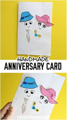 Easy handmade anniversary card that kids can make for their parents or other loved ones. Anniversary Card For Parents, Wedding Anniversary Greeting Cards, Diy Anniversary Gifts For Him, Anniversary Crafts, Anniversary Greetings, Handmade Anniversary Cards, Happy Anniversary, Wedding Cards Handmade, Handmade Birthday Cards