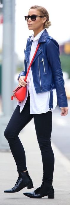 Love this. Blue Leather Moto Jacket :: Happily Grey